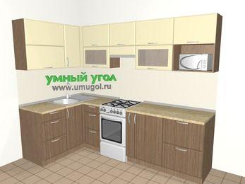 Угловая кухня МДФ матовый 5,9 м², 1400 на 2600 мм (зеркальный проект), Ваниль / Лиственница бронзовая, верхние модули 720 мм, модуль под свч, отдельно стоящая плита