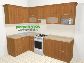 Угловая кухня МДФ матовый в классическом стиле 5,9 м², 140 на 260 см (зеркальный проект), Вишня, верхние модули 72 см, модуль под свч, отдельно стоящая плита