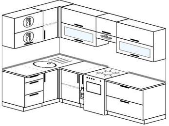 Угловая кухня 5,9 м² (1,4✕2,6 м), верхние модули 72 см, отдельно стоящая плита