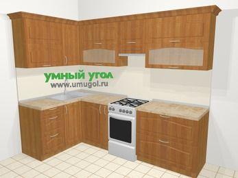 Угловая кухня МДФ матовый в классическом стиле 5,9 м², 140 на 260 см (зеркальный проект), Вишня, верхние модули 72 см, отдельно стоящая плита