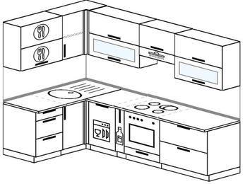 Планировка угловой кухни 5,9 м², 140 на 260 см (зеркальный проект): верхние модули 72 см, посудомоечная машина, корзина-бутылочница, встроенный духовой шкаф