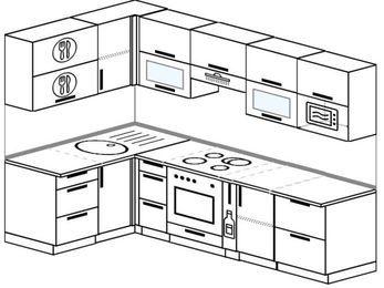 Угловая кухня 5,9 м² (1,4✕2,6 м), верхние модули 72 см, модуль под свч, встроенный духовой шкаф