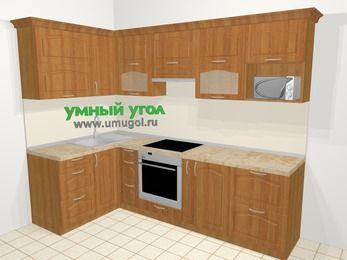 Угловая кухня МДФ матовый в классическом стиле 5,9 м², 140 на 260 см (зеркальный проект), Вишня, верхние модули 72 см, модуль под свч, встроенный духовой шкаф
