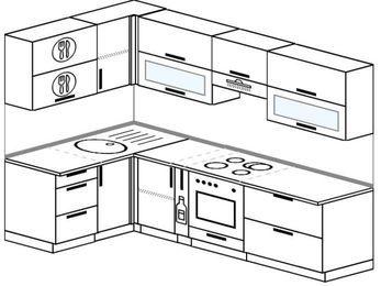 Угловая кухня 5,9 м² (1,4✕2,6 м), верхние модули 72 см, встроенный духовой шкаф