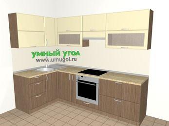 Угловая кухня МДФ матовый 5,9 м², 1400 на 2600 мм (зеркальный проект), Ваниль / Лиственница бронзовая, верхние модули 720 мм, встроенный духовой шкаф