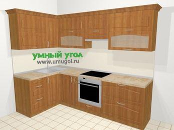 Угловая кухня МДФ матовый в классическом стиле 5,9 м², 140 на 260 см (зеркальный проект), Вишня, верхние модули 72 см, встроенный духовой шкаф