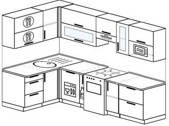 Угловая кухня 5,9 м² (1,4✕2,6 м), верхние модули 72 см, посудомоечная машина, модуль под свч, отдельно стоящая плита