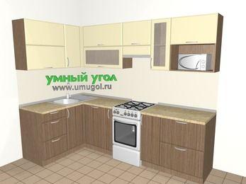 Угловая кухня МДФ матовый 5,9 м², 1400 на 2600 мм (зеркальный проект), Ваниль / Лиственница бронзовая, верхние модули 720 мм, посудомоечная машина, модуль под свч, отдельно стоящая плита
