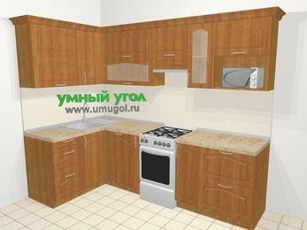 Угловая кухня МДФ матовый в классическом стиле 5,9 м², 140 на 260 см (зеркальный проект), Вишня, верхние модули 72 см, посудомоечная машина, модуль под свч, отдельно стоящая плита