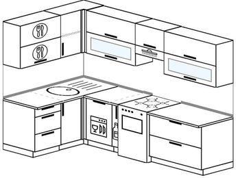 Угловая кухня 5,9 м² (1,4✕2,6 м), верхние модули 72 см, посудомоечная машина, отдельно стоящая плита