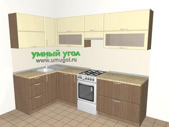 Угловая кухня МДФ матовый 5,9 м², 1400 на 2600 мм (зеркальный проект), Ваниль / Лиственница бронзовая, верхние модули 720 мм, посудомоечная машина, отдельно стоящая плита