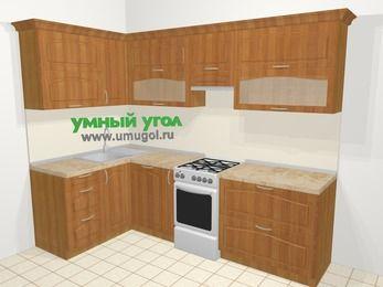 Угловая кухня МДФ матовый в классическом стиле 5,9 м², 140 на 260 см (зеркальный проект), Вишня, верхние модули 72 см, посудомоечная машина, отдельно стоящая плита