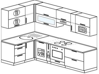 Угловая кухня 5,9 м² (1,4✕2,6 м), верхние модули 72 см, посудомоечная машина, верхний модуль под свч, встроенный духовой шкаф