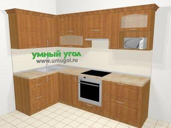 Угловая кухня МДФ матовый в классическом стиле 5,9 м², 140 на 260 см (зеркальный проект), Вишня, верхние модули 72 см, посудомоечная машина, верхний модуль под свч, встроенный духовой шкаф