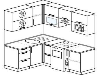 Угловая кухня 5,0 м² (1,5✕2,0 м), верхние модули 720 мм, верхний модуль под свч, отдельно стоящая плита