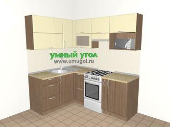 Угловая кухня МДФ матовый 5,0 м², 1500 на 2000 мм (зеркальный проект), Ваниль / Лиственница бронзовая, верхние модули 720 мм, верхний модуль под свч, отдельно стоящая плита