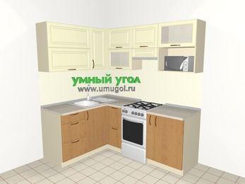 Угловая кухня из МДФ + ЛДСП 5,0 м², 1500 на 2000 мм (зеркальный проект), Ваниль / Ольха, верхние модули 720 мм, верхний модуль под свч, отдельно стоящая плита