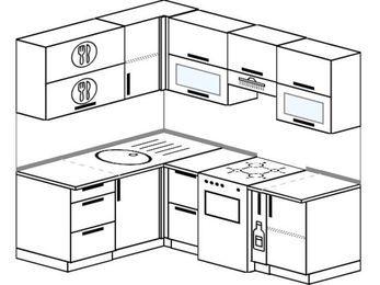 Угловая кухня 5,0 м² (1,5✕2,0 м), верхние модули 720 мм, отдельно стоящая плита