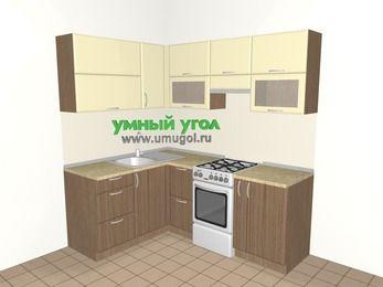 Угловая кухня МДФ матовый 5,0 м², 1500 на 2000 мм (зеркальный проект), Ваниль / Лиственница бронзовая, верхние модули 720 мм, отдельно стоящая плита