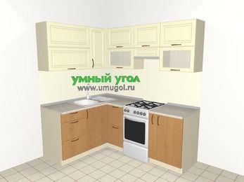 Угловая кухня из МДФ + ЛДСП 5,0 м², 1500 на 2000 мм (зеркальный проект), Ваниль / Ольха, верхние модули 720 мм, отдельно стоящая плита