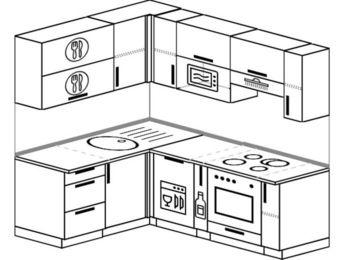 Угловая кухня 5,0 м² (1,5✕2,0 м), верхние модули 720 мм, посудомоечная машина, верхний модуль под свч, встроенный духовой шкаф