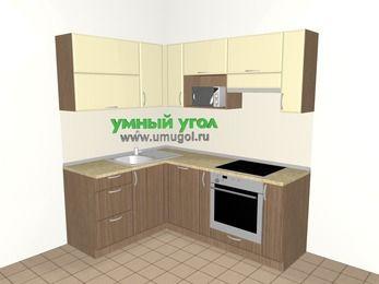 Угловая кухня МДФ матовый 5,0 м², 1500 на 2000 мм (зеркальный проект), Ваниль / Лиственница бронзовая, верхние модули 720 мм, посудомоечная машина, верхний модуль под свч, встроенный духовой шкаф