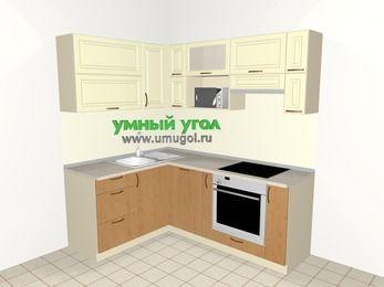 Угловая кухня из МДФ + ЛДСП 5,0 м², 1500 на 2000 мм (зеркальный проект), Ваниль / Ольха, верхние модули 720 мм, посудомоечная машина, верхний модуль под свч, встроенный духовой шкаф