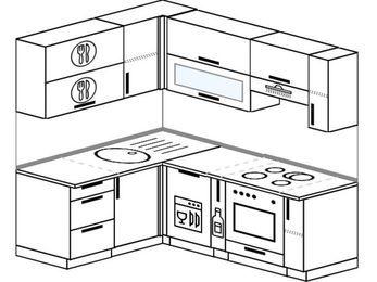 Угловая кухня 5,0 м² (1,5✕2,0 м), верхние модули 720 мм, посудомоечная машина, встроенный духовой шкаф