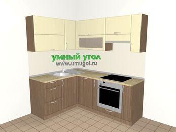 Угловая кухня МДФ матовый 5,0 м², 1500 на 2000 мм (зеркальный проект), Ваниль / Лиственница бронзовая, верхние модули 720 мм, посудомоечная машина, встроенный духовой шкаф