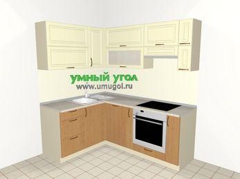 Угловая кухня из МДФ + ЛДСП 5,0 м², 1500 на 2000 мм (зеркальный проект), Ваниль / Ольха, верхние модули 720 мм, посудомоечная машина, встроенный духовой шкаф