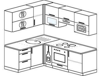 Угловая кухня 5,0 м² (1,5✕2,0 м), верхние модули 720 мм, верхний модуль под свч, встроенный духовой шкаф