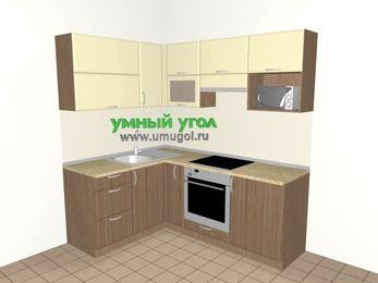 Угловая кухня МДФ матовый 5,0 м², 1500 на 2000 мм (зеркальный проект), Ваниль / Лиственница бронзовая, верхние модули 720 мм, верхний модуль под свч, встроенный духовой шкаф
