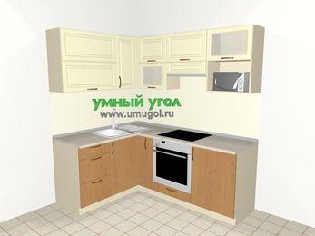 Угловая кухня из МДФ + ЛДСП 5,0 м², 1500 на 2000 мм (зеркальный проект), Ваниль / Ольха, верхние модули 720 мм, верхний модуль под свч, встроенный духовой шкаф