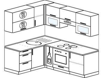Планировка угловой кухни 5,0 м², 1500 на 2000 мм (зеркальный проект): верхние модули 720 мм, корзина-бутылочница, встроенный духовой шкаф
