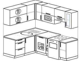Угловая кухня 5,0 м² (1,5✕2,0 м), верхние модули 720 мм, посудомоечная машина, верхний модуль под свч, отдельно стоящая плита