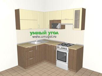 Угловая кухня МДФ матовый 5,0 м², 1500 на 2000 мм (зеркальный проект), Ваниль / Лиственница бронзовая, верхние модули 720 мм, посудомоечная машина, верхний модуль под свч, отдельно стоящая плита