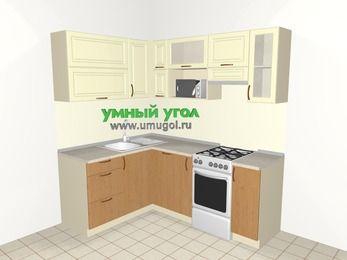 Угловая кухня из МДФ + ЛДСП 5,0 м², 1500 на 2000 мм (зеркальный проект), Ваниль / Ольха, верхние модули 720 мм, посудомоечная машина, верхний модуль под свч, отдельно стоящая плита