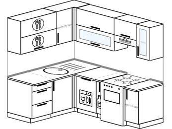 Угловая кухня 5,0 м² (1,5✕2,0 м), верхние модули 720 мм, посудомоечная машина, отдельно стоящая плита