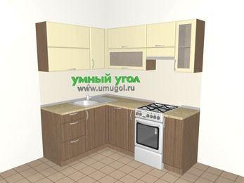 Угловая кухня МДФ матовый 5,0 м², 1500 на 2000 мм (зеркальный проект), Ваниль / Лиственница бронзовая, верхние модули 720 мм, посудомоечная машина, отдельно стоящая плита
