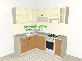 Угловая кухня из МДФ + ЛДСП 5,0 м², 1500 на 2000 мм (зеркальный проект), Ваниль / Ольха, верхние модули 720 мм, посудомоечная машина, отдельно стоящая плита