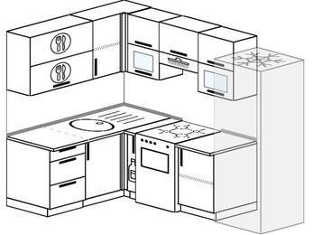 Планировка угловой кухни 5,7 м², 150 на 230 см (зеркальный проект): верхние модули 72 см, корзина-бутылочница, отдельно стоящая плита, холодильник
