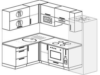 Угловая кухня 5,7 м² (1,5✕2,3 м), верхние модули 72 см, верхний модуль под свч, встроенный духовой шкаф, холодильник