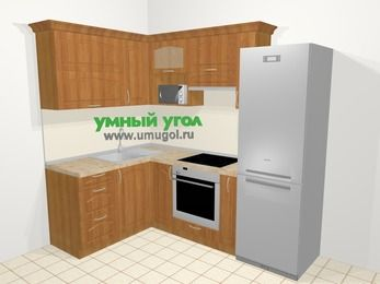 Угловая кухня МДФ матовый в классическом стиле 5,7 м², 150 на 230 см (зеркальный проект), Вишня, верхние модули 72 см, верхний модуль под свч, встроенный духовой шкаф, холодильник
