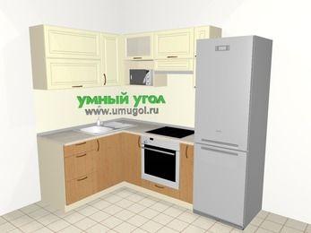 Угловая кухня из МДФ + ЛДСП 5,7 м², 1500 на 2300 мм (зеркальный проект), Ваниль / Ольха, верхние модули 720 мм, верхний модуль под свч, встроенный духовой шкаф, холодильник