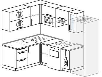 Угловая кухня 5,7 м² (1,5✕2,3 м), верхние модули 72 см, верхний модуль под свч, холодильник, отдельно стоящая плита