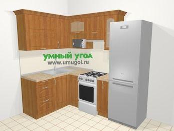 Угловая кухня МДФ матовый в классическом стиле 5,7 м², 150 на 230 см (зеркальный проект), Вишня, верхние модули 72 см, верхний модуль под свч, холодильник, отдельно стоящая плита