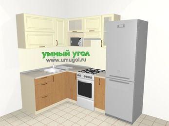 Угловая кухня из МДФ + ЛДСП 5,7 м², 1500 на 2300 мм (зеркальный проект), Ваниль / Ольха, верхние модули 720 мм, верхний модуль под свч, холодильник, отдельно стоящая плита