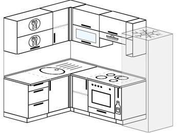 Угловая кухня 5,7 м² (1,5✕2,3 м), верхние модули 72 см, встроенный духовой шкаф, холодильник
