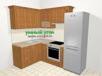 Угловая кухня МДФ матовый в классическом стиле 5,7 м², 150 на 230 см (зеркальный проект), Вишня, верхние модули 72 см, встроенный духовой шкаф, холодильник