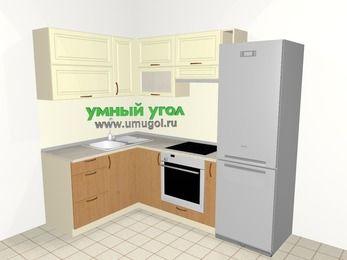 Угловая кухня из МДФ + ЛДСП 5,7 м², 1500 на 2300 мм (зеркальный проект), Ваниль / Ольха, верхние модули 720 мм, встроенный духовой шкаф, холодильник